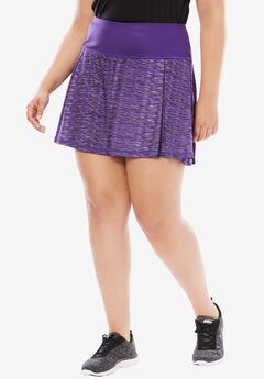 Pleated Skort, ROYAL GRAPE SPACE DYE, hi-res