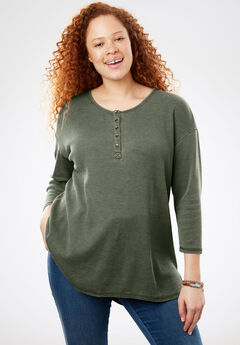 High-Low Thermal Henley Tunic, SAGE GRASS