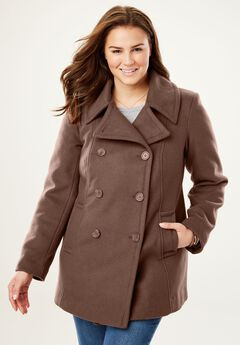 Wool-Blend Double-Breasted Peacoat, SOFT BROWN