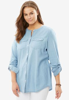 Collarless Denim Button Down, BLEACH, hi-res