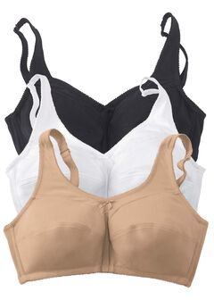 3-Pack Cotton Everyday Wireless Bra by Comfort Choice®, BASIC ASSORTED