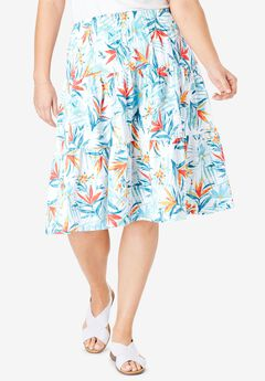 Jersey Knit Tiered Skirt, WHITE PARADISE FLORAL