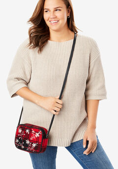 Embellished Flannel Crossbody Bag,