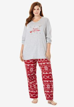 Jersey and flannel pj set by Dreams & Co.®, CLASSIC RED DRINKS