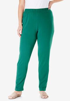7-Day Knit Slim-Leg Pant, FOLIAGE GREEN