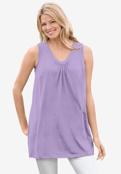 Perfect Sleeveless Shirred V-Neck Tunic, SOFT IRIS