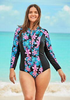 Zip-Front Colorblock Swimsuit by Swim 365,