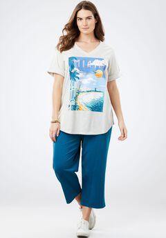 Knit capri pants set, BLUE MIAMI