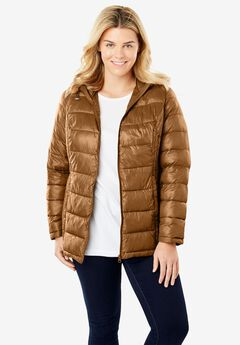 Packable Puffer Jacket, SOFT BROWN