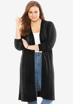 Pointelle cardigan sweater duster, BLACK, hi-res