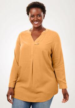 Tab-Front Long Sleeve Shirt, HONEY GLAZE