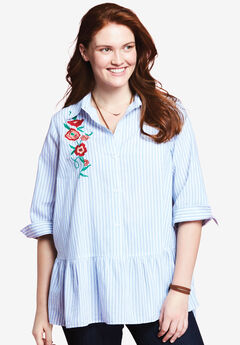Embroidered Blouse by Chelsea Studio®, BLUE WHITE STRIPE, hi-res