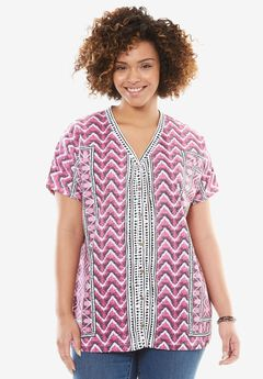 Geometric Button-Front V-Neck Tee,