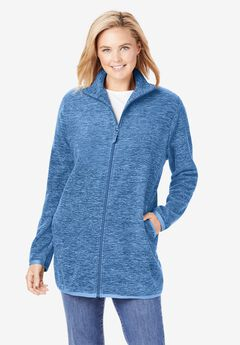 Zip-Front Microfleece Jacket, BLUE MARLED