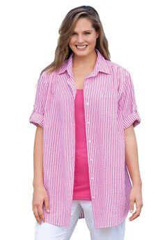 Button-Tab Short Sleeve Button-Down Seersucker Shirt,