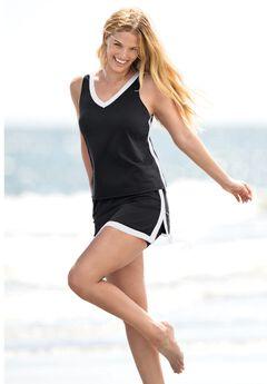 2-Piece Swim Skirtini Set , BLACK WHITE