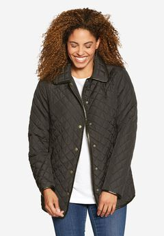 Light quilted snap-front jacket, DARK CHARCOAL, hi-res