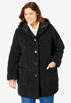 Hooded berber jacket, BLACK, hi-res