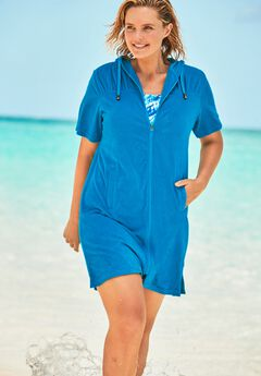 Hooded Terry Swim Cover Up,