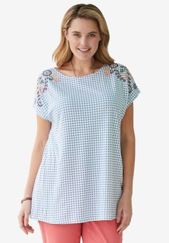 Short Sleeve Embroidered Gingham Tee, BLUE MULTI, hi-res