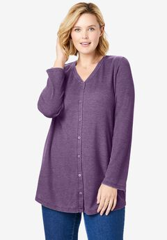 Button Front Washed Thermal,