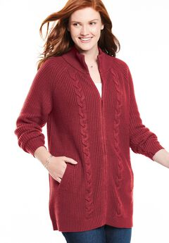 Cabled Zip Front Cardigan,