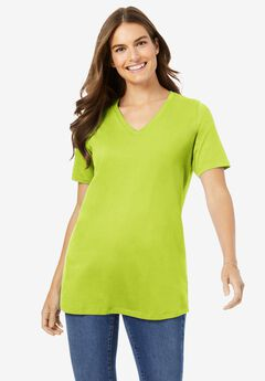 Perfect Short-Sleeve V-Neck Tee, LIME