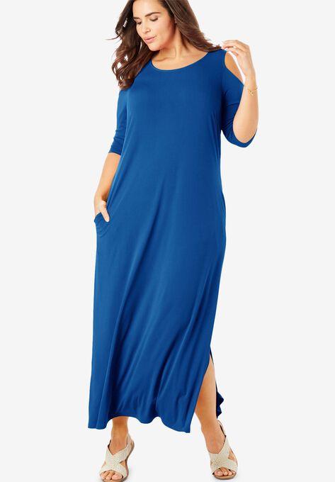 Cold-Shoulder A-Line Maxi Dress