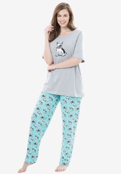Graphic Tee PJ Set by Dreams & Co®, AQUA DOGS, hi-res