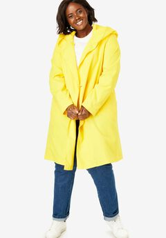 Packable water-resistant hooded raincoat with zip bag,