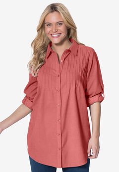 Shirt in soft cotton pinwale corduroy with pintucks, long sleeves, STRAWBERRY ROSE, hi-res