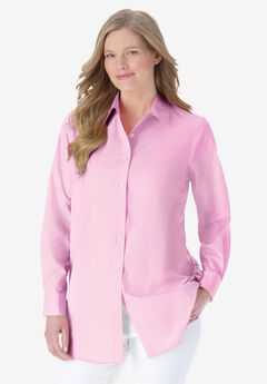 Perfect Long-Sleeve Button Down Shirt, PINK