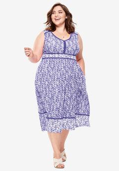Mixed Print Midi Dress, TULIP PURPLE WATERCOLOR LEAF
