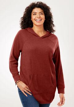 Hooded Thermal Sweatshirt, RED OCHRE