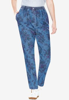 100% Cotton Comfort Pull On Jean, BOUQUET SKETCH, hi-res