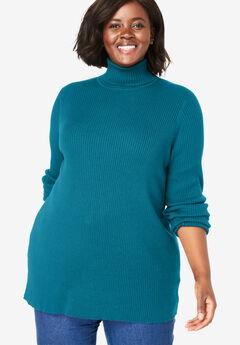 Rib Knit Turtleneck Sweater,