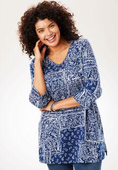Perfect Print V-Neck Tunic, EVENING BLUE PATCHWORK