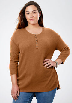 Thermal high-low Henley tunic, GINGER, hi-res