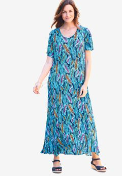 Crinkle Dress, NAVY WATERCOLOR PALMS