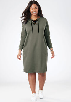 Lace-Up Front Fleece Dress, SAGE GRASS, hi-res