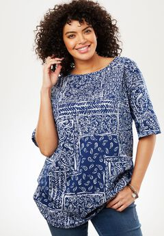 Printed Boatneck Perfect Tunic,