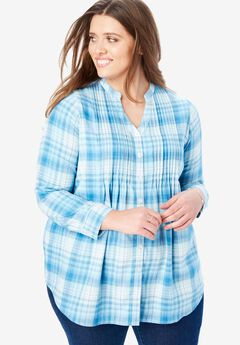 Pintucked Flannel Shirt, RIVER BLUE PLAID
