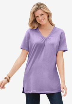 Perfect Short-Sleeve Shirred V-Neck Tunic,