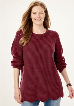 Scalloped Hem Shaker Sweater,