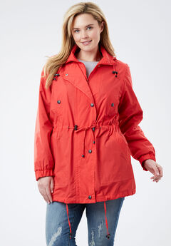 Weather-resistant Taslon® Anorak, CORAL RED, hi-res
