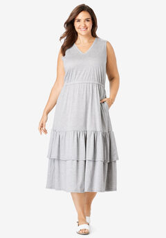 Tiered Hem Sleeveless Dress,