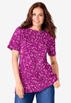 Thermal Short-Sleeve Satin-Trim Tee,