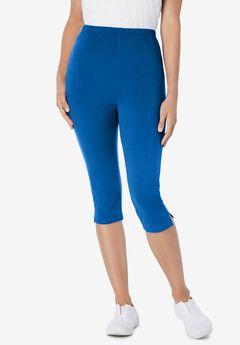 Stretch Cotton Capri Legging, BRIGHT COBALT