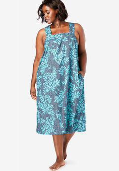 Print Sleeveless Square Neck Lounger by Dreams & Co.®, NAVY LEAVES