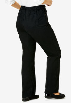 Cotton Straight Leg Relaxed Fit Jean, BLACK